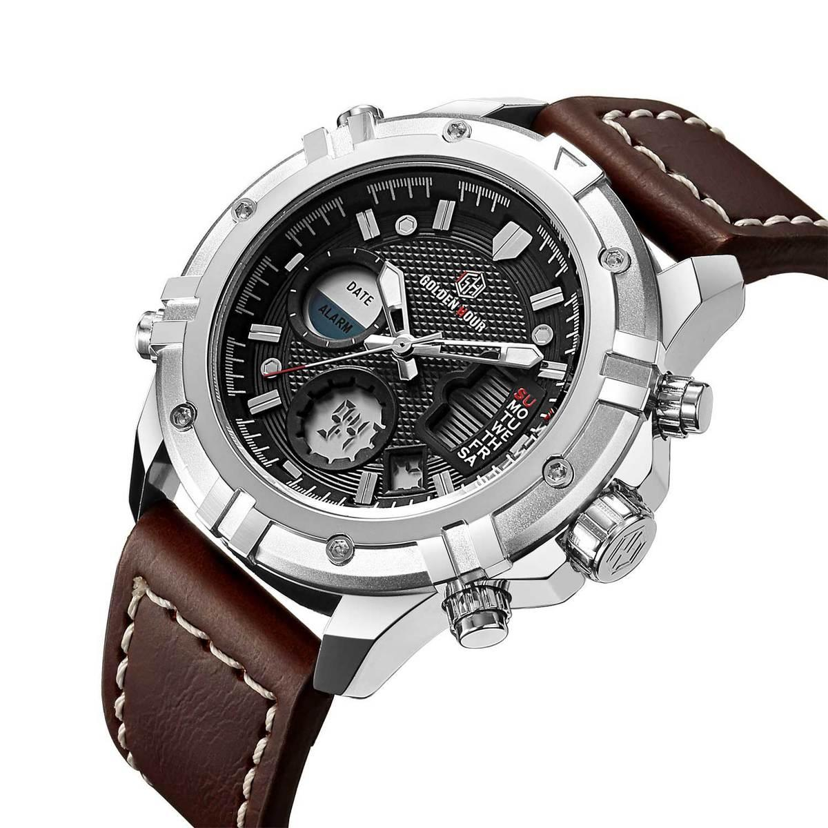 324a057374d2 Compre HORAS DE ORO Cuarzo Militar Reloj De Tiempo Dual Hombres Fecha  Semana Alarma Reloj De Pulsera De Cuero De Deportes Multifunción De Moda  2018 S923 A ...