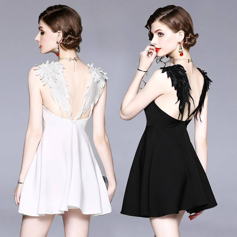 d61253dc8 2019 Mini Dress Black White Angel Wings Embroidery Spaghetti Strap ...