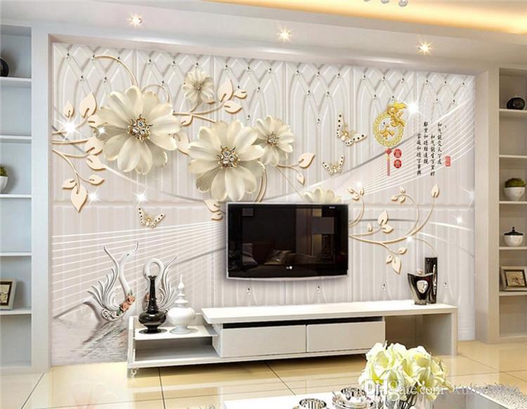Benutzerdefinierte europäische 3D Wandbilder Tapete Blumen schöne Luxus Desktop-Wallpaper für Schlafzimmer Wand Wandbilder TV Hintergrund Wand