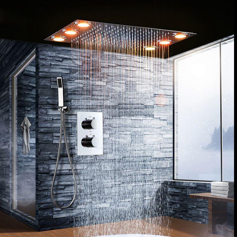 2018 2018 Luxury Led Rainfall Shower Head Thermostatic Shower Valve ...