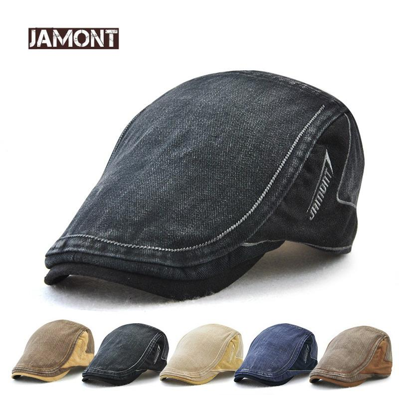 Acquista JAMONT Denim Beret Caps Embroidery Flat Hat Uomo Donna Estate  Casual Berretti Con Visiera Jeans Cotton Berets Cappelli Classic Simple  Flat Cap A ... a900671d9d5b