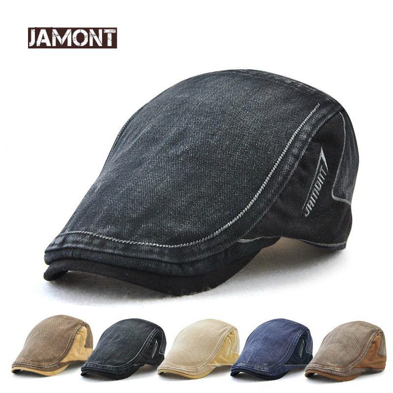 Compre JAMONT Denim Gorras Gorras Bordado Sombrero Plano Hombre Mujer  Verano Casual Gorros Jeans Algodón Boinas Sombreros Clásico Simple Tapa  Plana A  36.57 ... bc25f422a9b