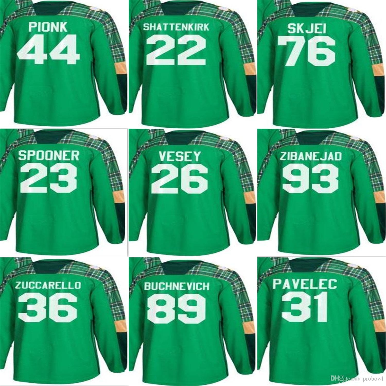 aab6ff798 2018 Custom Mens Rangers St. Patrick's Day Zibanejad Alexandar ...