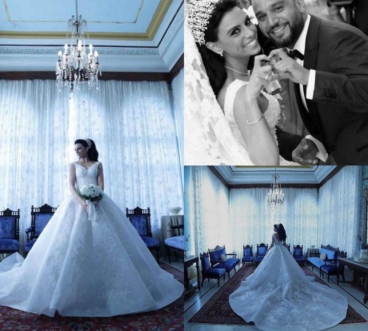 Discount 2018 Luxury Wedding Dresses Saudi Arabia V Neck Sleeveless ...