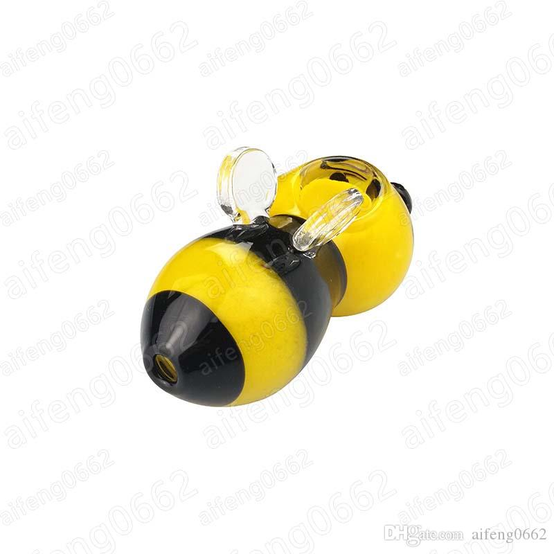 mini tubos de vidrio fumar en pipa de vidrio pipa de fumar de tubería animales tubos de vidrio de abejas amarilla 3.7inches