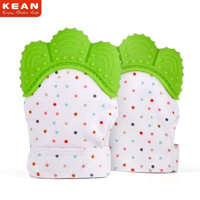 Silicone Baby Mitts Teething Mitten Glove Teething Chewable Newborn Nursing Teether Beads Infant BPA Free Sound Teethers Xmas Gift A8235