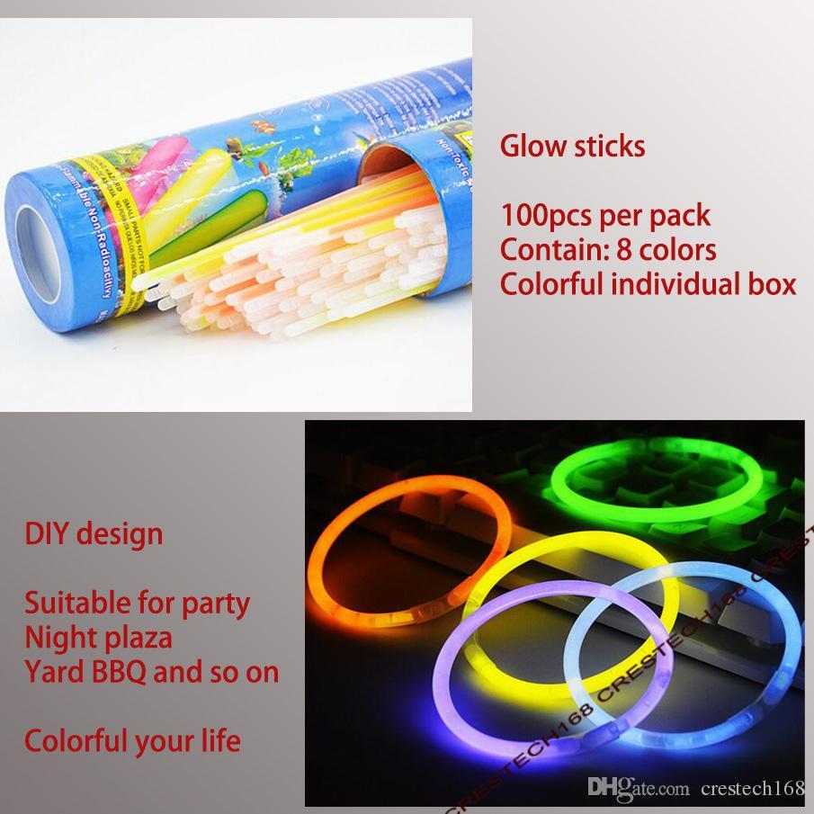 20 CM Glow Stick Multi Color Pulsera Collares Fiesta de neón Light Stick Varita Novedad Juguete Vocal Concierto Palos