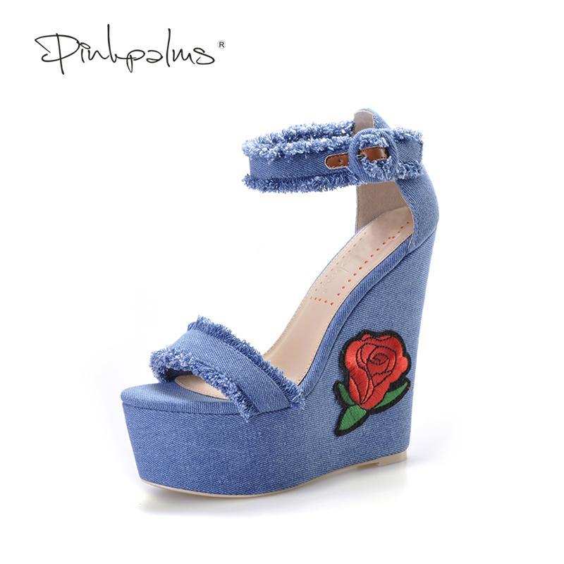 D'été Flower Chaussures Bleu Folk Marine Brodé Forme Palms Denim Plate Nouvelles De En Femmes Talons À Tissu Sandales Hauts Pink DI9WH2YE
