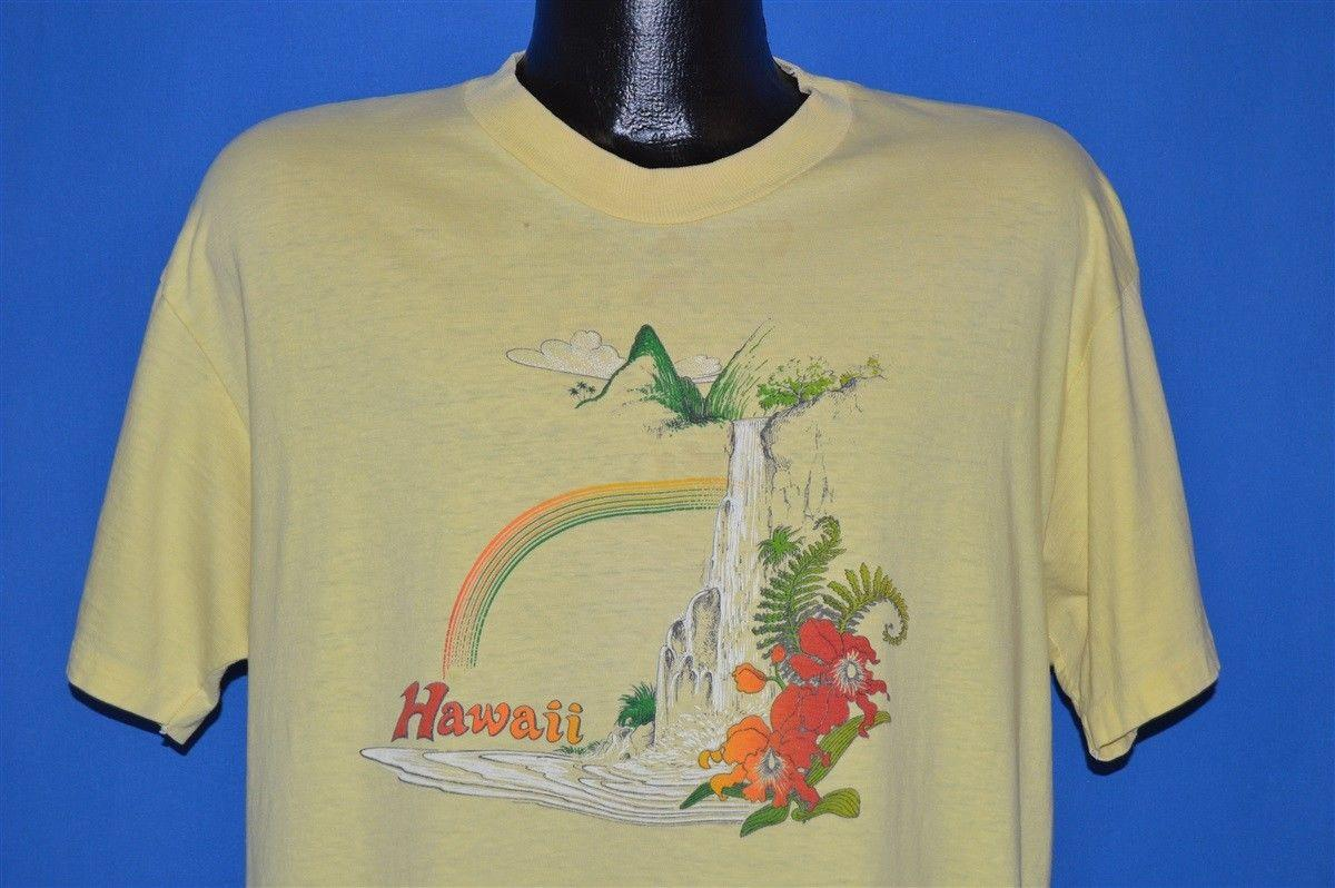 8333d0a7 Details Zu Vintage 80s HAWAII RAINBOW PALM TREE MOUNTAIN HIBISCUS FLOWER  YELLOW T Shirt XL Funny Unisex Casual Awesome T Shirt Sites Tees Designs  From ...