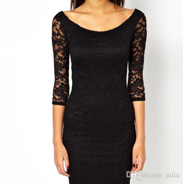 Hot style seven-point sleeve lace dress.