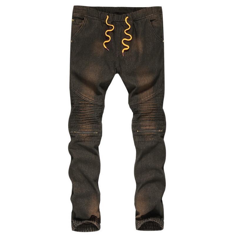 decb0468b Street Biker HEFLASHOR New pour hommes se plie Jeans confortable plissé  serré slim denim taille élastique moto pantalon pour homme