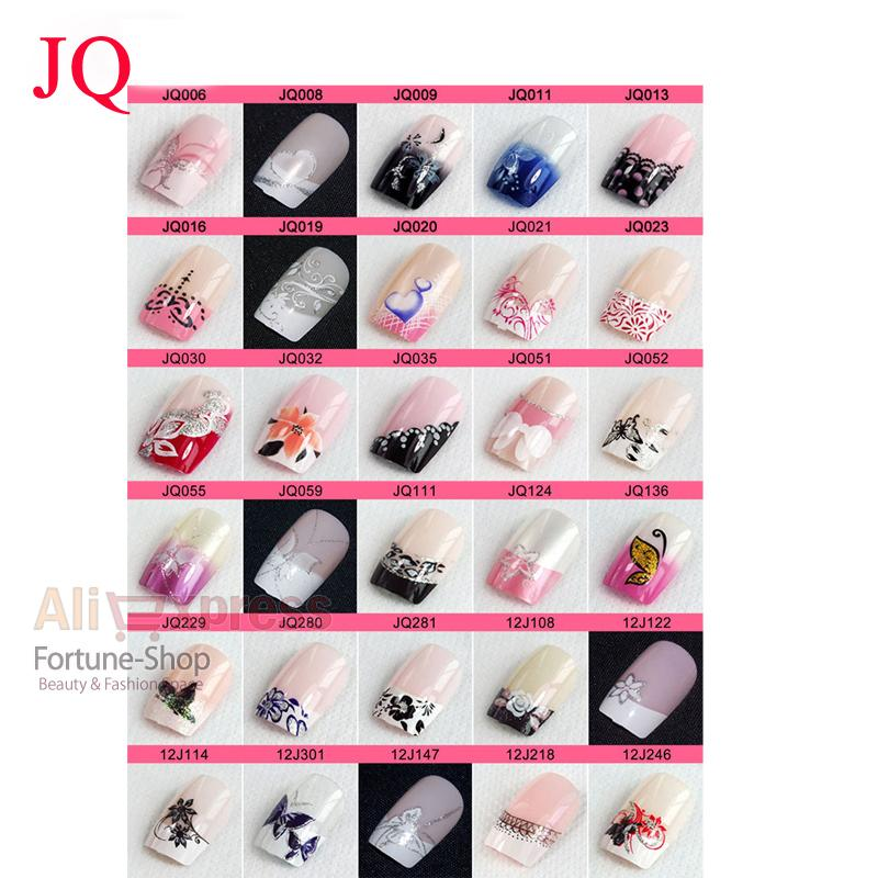 Jq Pre Designed French Acrylic False Nail Full Tips Come With Glue