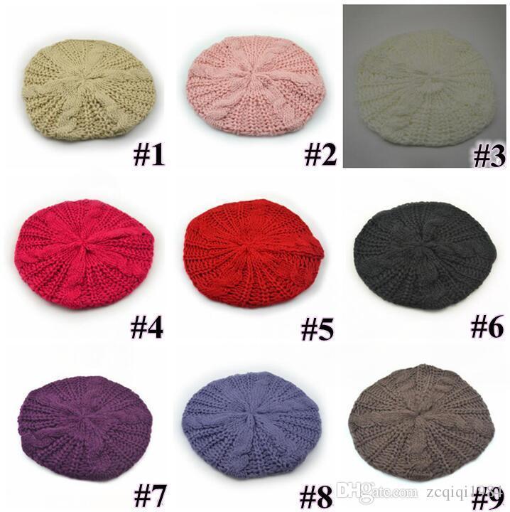 10 цветов женская девушка теплые вязаные шапки мешковатые берет шапки коренастый вата плетеный Шапочка Бесплатная доставка
