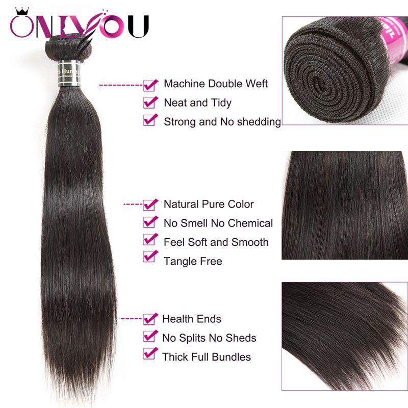 Onlyou Hair® 9a 브라질 버진 헤어 스트레이트 번들 Closure 100 % Remy Human Hair Weave 3 / 4 번들, 13 * 4 레이스 정면 폐쇄 포함