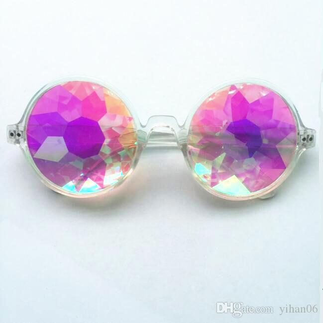 WOMEN Fashion Geometric Kaleidoscope Glasses Rainbow Rave Lens Bling Bling Prism Crystal Party Diffraction Sunglasses