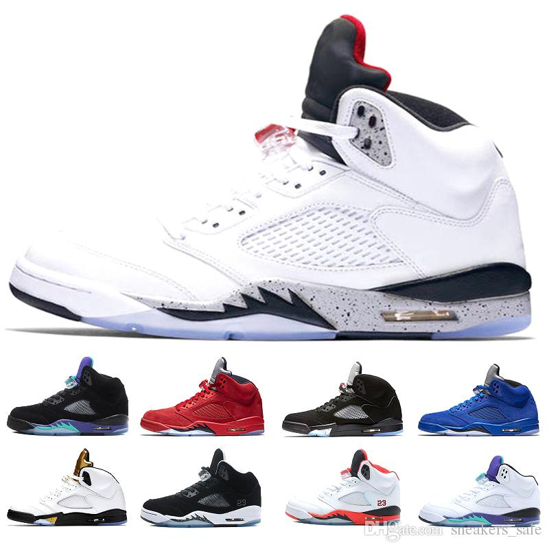 2a391d9dc279 2019 New 5s White Cement Basketball Shoes Men 5s White Grapes Oreo  International Flight Blue Suede Space Jam Red Suede Designer Sneakers  Zapatos From ...