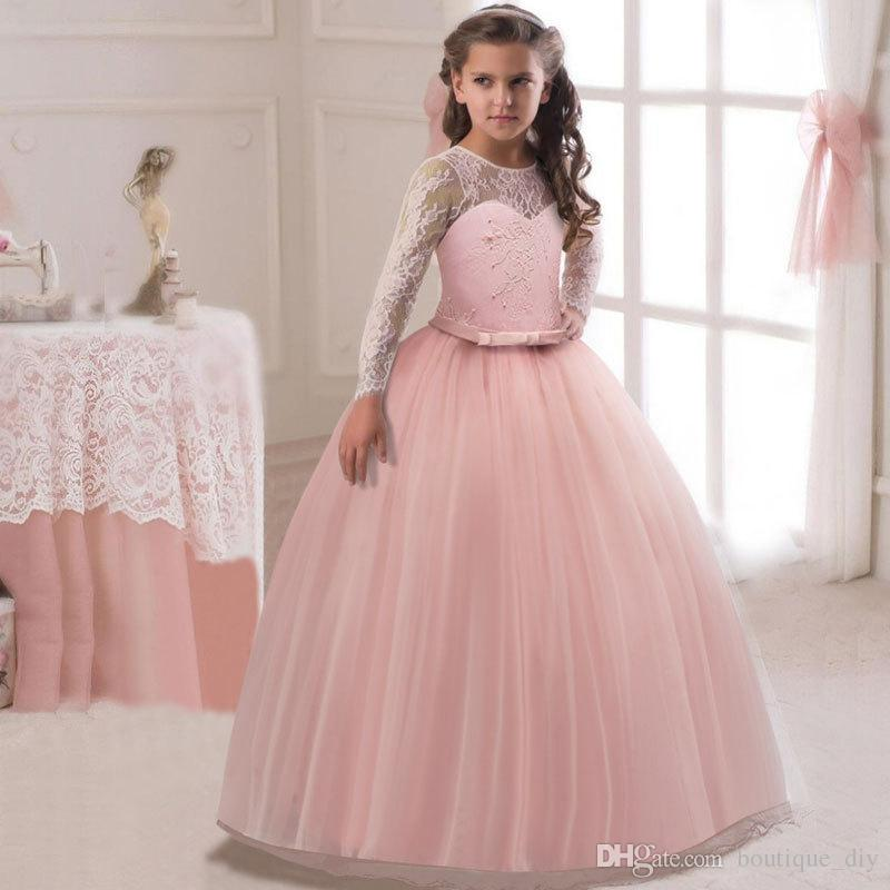 Top Sale 8Colors Girls White lace Flower Dresses long sleeve Princess Girls ball gown wedding dress Birthday party First Communion dress D12