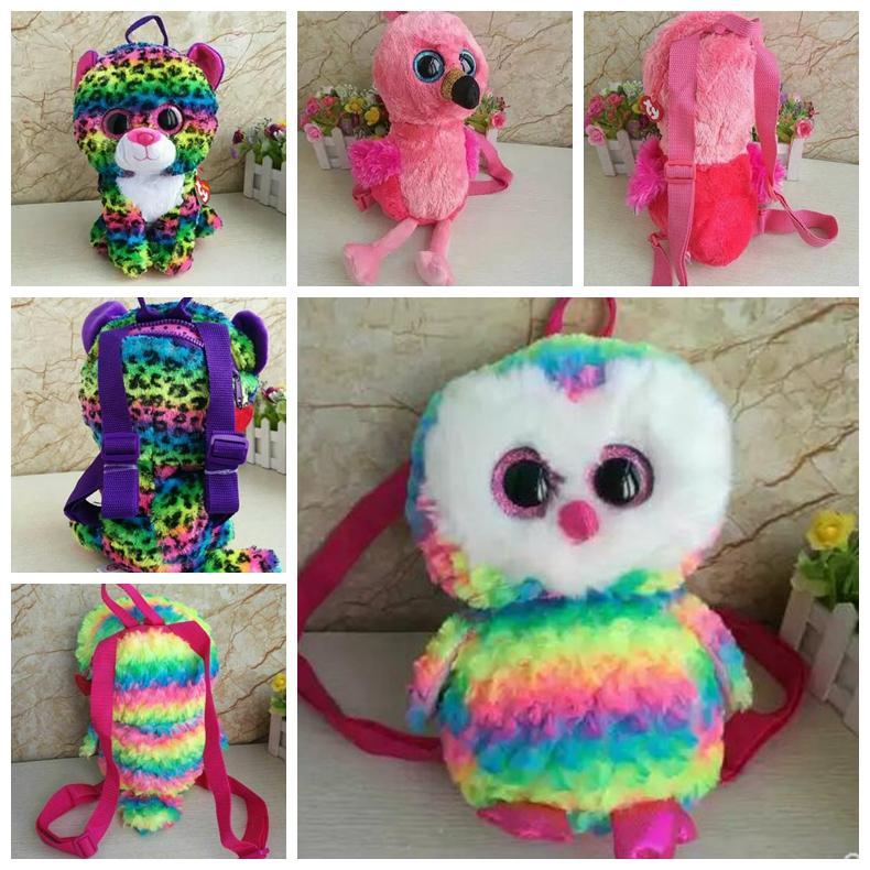 Ty Beanie Boos Plush Backpack Rainbow Leopard Backpack Owl Plush Toy