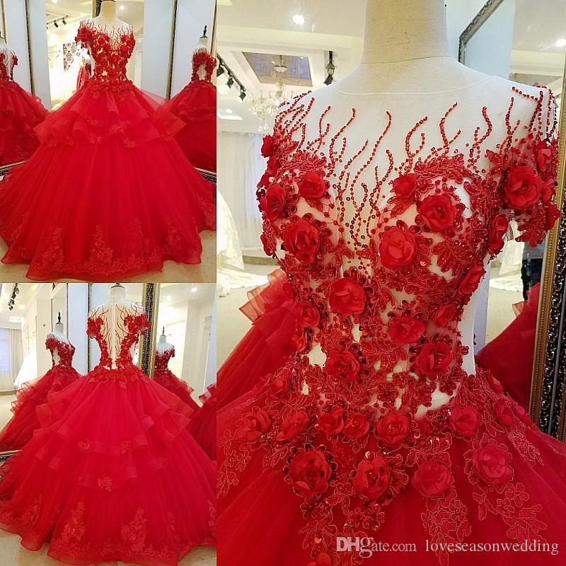 LS32710 Long Red Evening Dresses For Engagement Ball Gown 3D Flowers  Evening Party Dress Vestido De Noche Real Photos Canada 2019 From  Loveseasonwedding 42ecc9ea8248