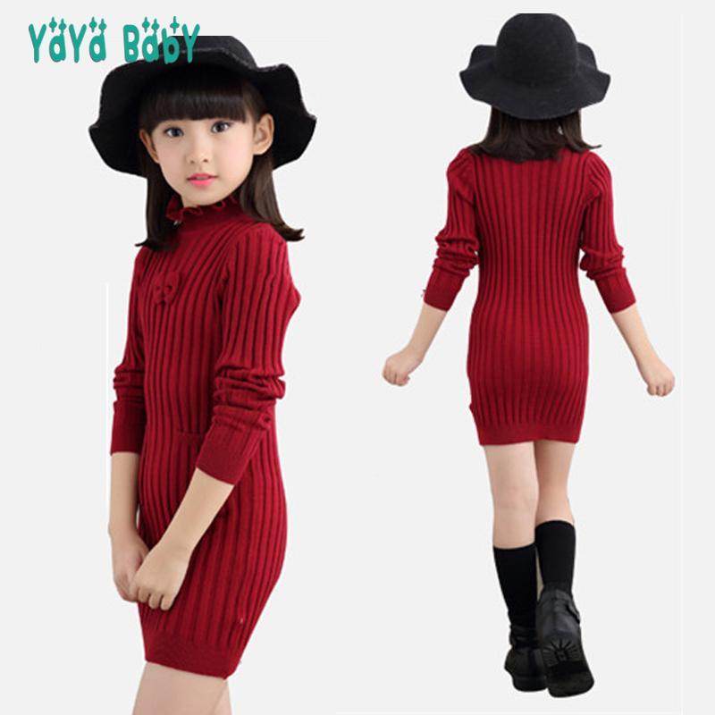91a01323ff49d Satın Al Toddlers Gençler Kız Kazak Elbise 2018 Yeni Sonbahar Kış Uzun Tarzı  Çocuklar Kızlar Için Kazak Ince Örgü Çocuk Giyim, $24.26   DHgate.Com'da