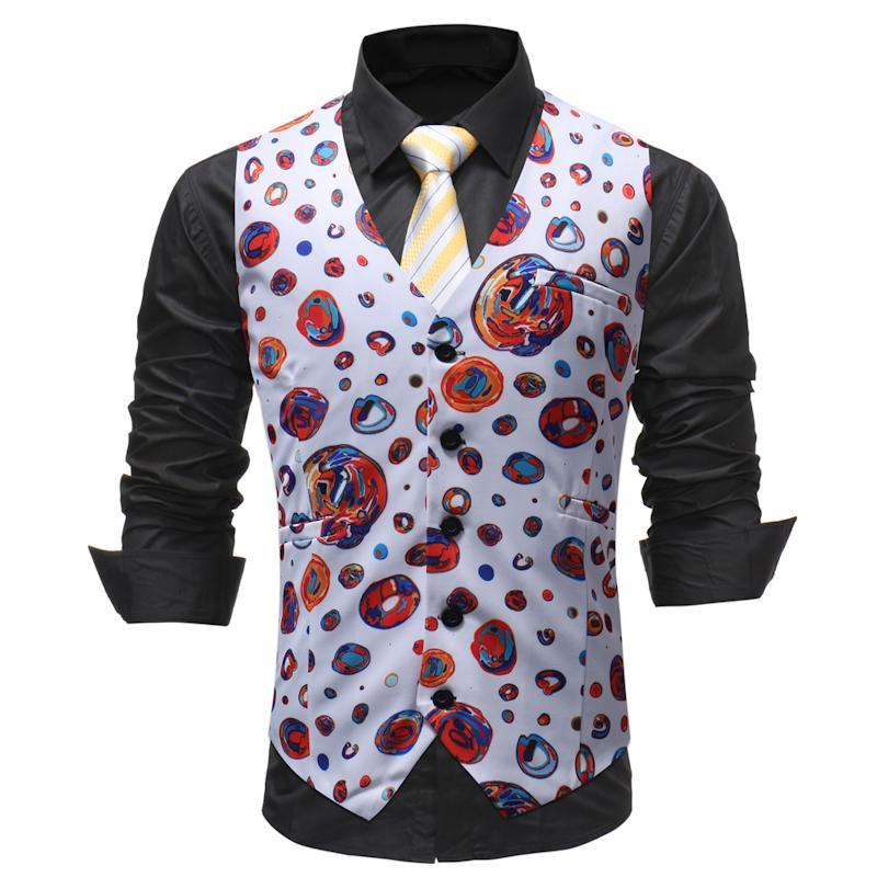 93deb720520 Men Clothes 2018 New Chalecos Para Hombre Men Fashion Print Flower Vest  Casual Suit Dress Vest Four Seasons Colete Masculino Vests   Waistcoats  Cheap Vests ...