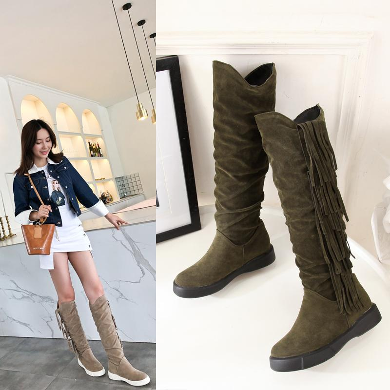 cd3b959c980 2018 Women Fringe Knee Thigh High Boots Winter Tassel Warm Snow Boots  Female Rubber Plus Size Green Suede Flat Boot Velvet Shoes Wide Calf Boots  Ariat Boots ...