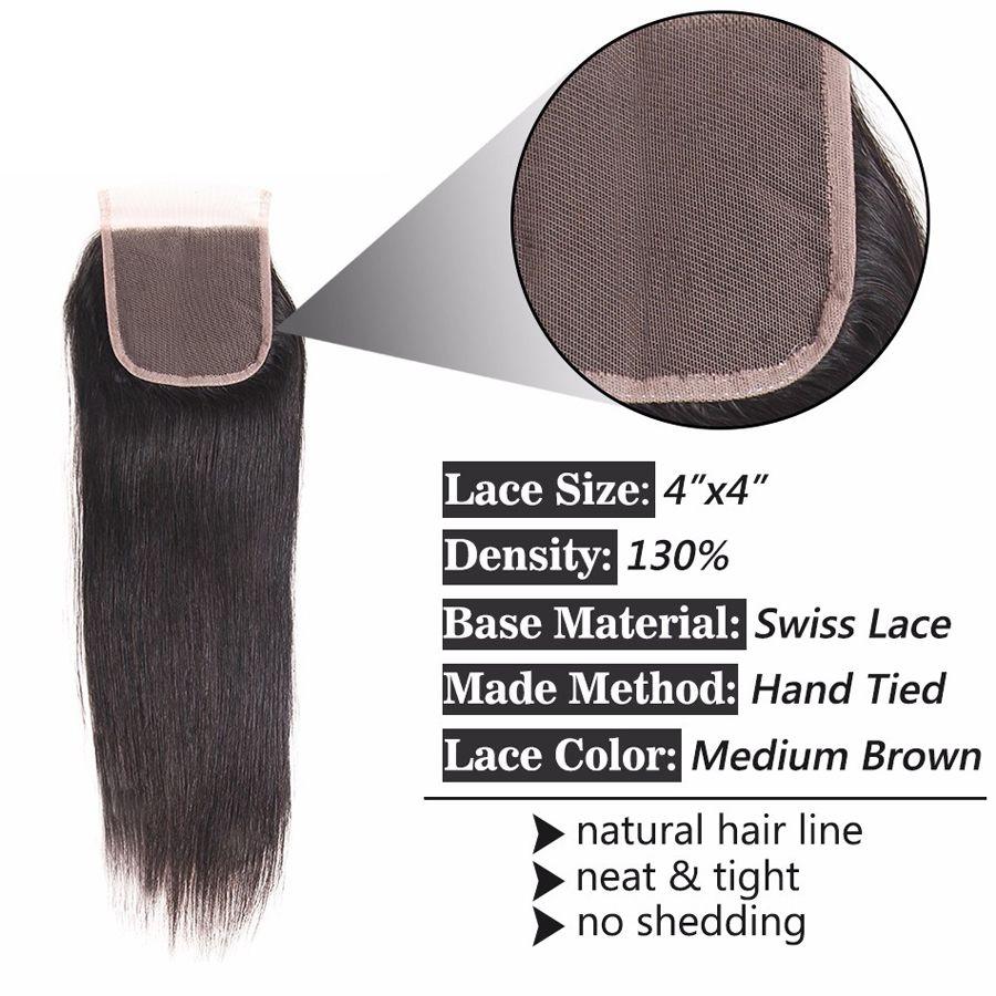 8A Raw Virgin Unprocessed Indian Hair Closure 4x4 Medium Brown Swiss Lace Closure Straight Weaves Human Hair Closure Natural Black