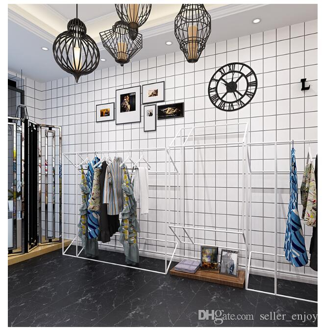 Fashion Black and White Square Plaid Wallpaper Clothing Store Decor Wall Sticker for Living Room Bedroom TV Background Wallpaper 3D