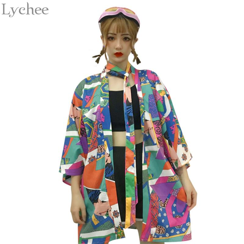 2019 Lychee Harajuku Ukiyoe Color Block Summer Women Cardigan Causal Long  Sleeve Shirt Sun Protection Loose Outerwear From Sincha a2ce76a89317