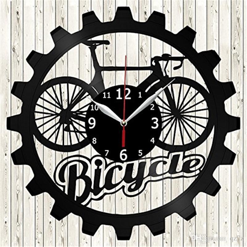 f7e5fca55fa Compre Tema Da Bicicleta Relógio De Parede De Vinil Simples E Moderno Home  Decor Artesanato Criativo Presentes Artesanais Escritório Wall Art  Decoração ...