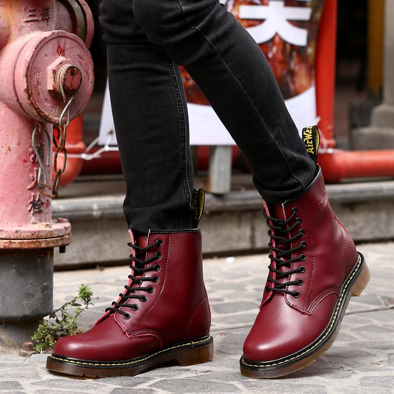 Designer Martin Boots For Men Good Quality Casual Male Shoes Black Red wine  Ankle Military Boots Men Large Size 38-45 Mens Boots