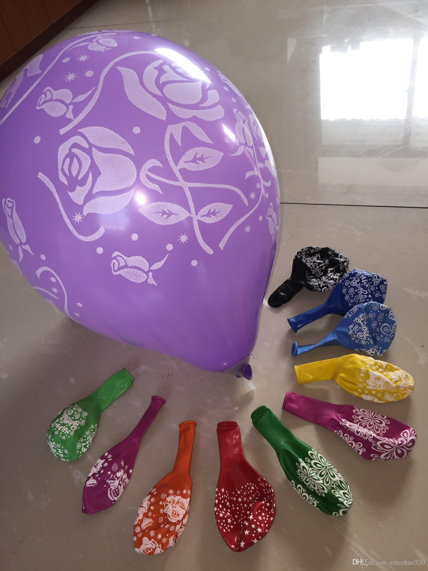 New Thickness 12inch Birthday Party Decoration Ballons Latex Round helium Balloon happy birthday printed Flower Supply