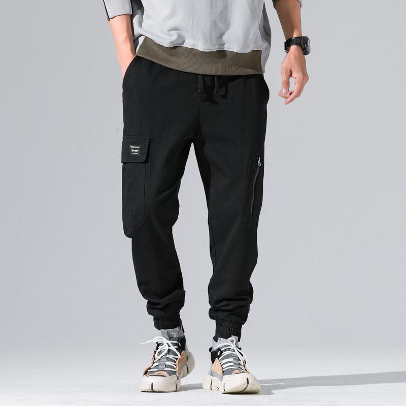 cd9ebe640f Compre Estilo Japonés Moda Hombre Vaqueros Pantalones Casuales De Época  Loose Fit Big Pocket Pantalones De Carga Color Negro Hip Hop Jogger  Pantalones ...