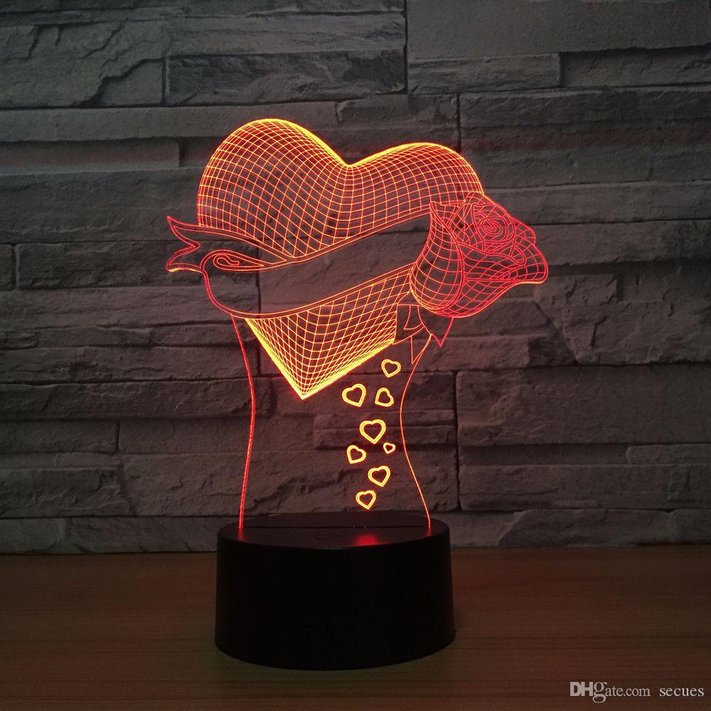 Heart Rose 3D Optical Illusion Lamp Night Light DC 5V USB Powered Battery Wholesale Dropshipping Free Shipping