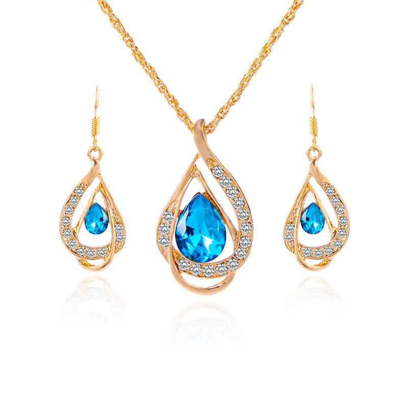 2018 Fashion Sapphire+Austrian Crystal hollow Statement jewelry sets 18K gold Opal Pendant Necklace Earring Set with Swarovski Elements