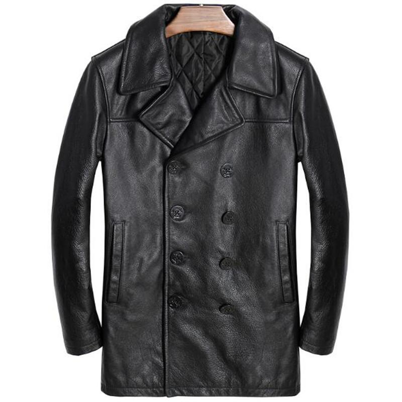 2019 Genuine Leather Jacket Men Double Breasted Long Coat Winter