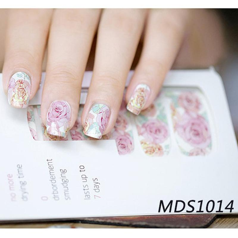 Sheet Floral Nail Wraps Pink Roses Nail Art Full Stickers Art ...