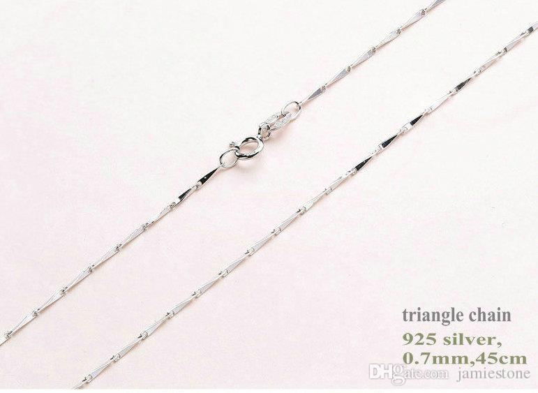 Fine Jewelry Chains 0.7-1mm 18 inch 925 Real Sterling Silver 8 Kinds Necklace Chains with Lobster