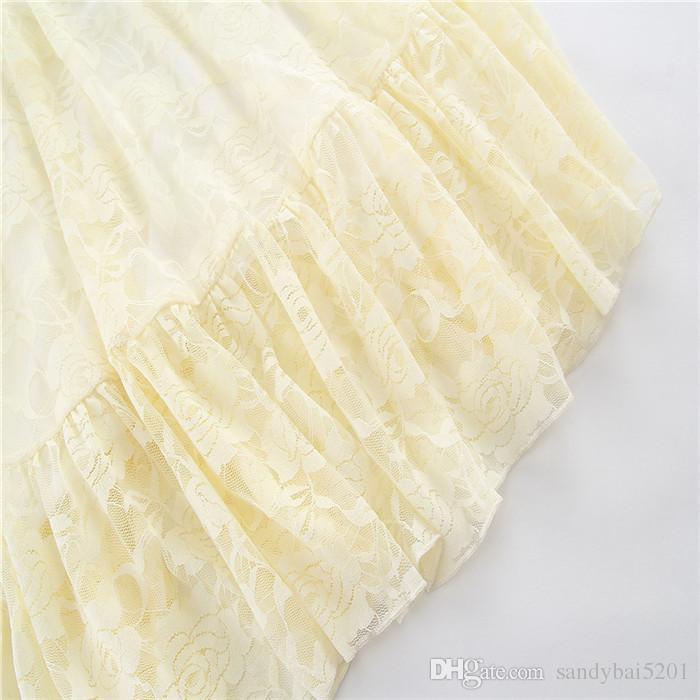 Lace Dresses 2-7Year Kids Girl Flower Long Dress Infant Princess Full Sleeve Beige Dress for Party 2018 New Children Clothing Wholesale D404
