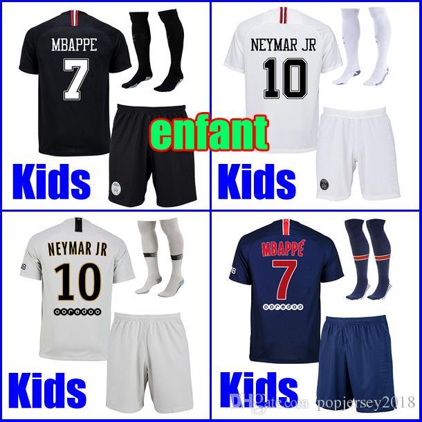 6ac7e4ab KIDS Soccer Jersey Sets With Socks Maillots PSG AJ 2019 Uniform Paris Saint  MBAPPE 7 Germain 18 19 MBAPPE Maillot De Foot Boys Youth Kit UK 2019 From  ...