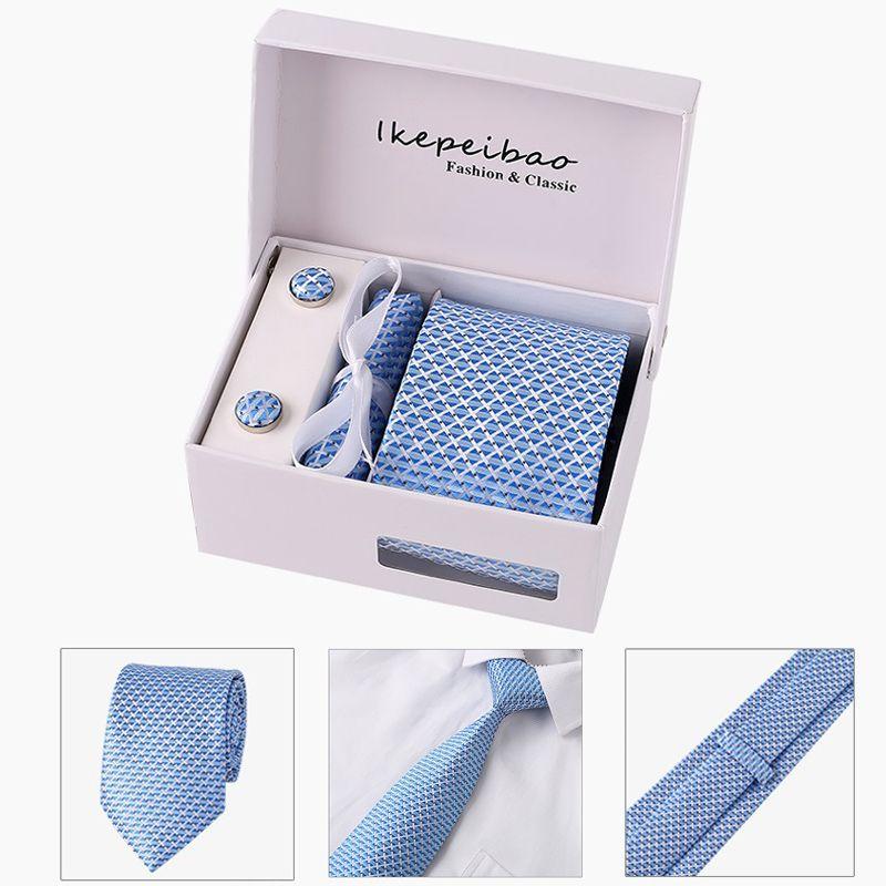2018 ikepeibao custom personalized mens ties hankie cufflinks sets