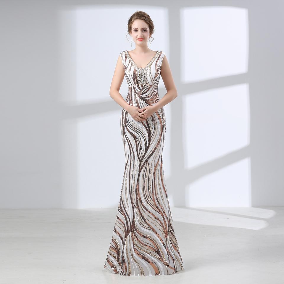 37163c0ff8 Compre Vestidos De Noche Elegantes Sirena Cristales Largos Rebordear Foto  Real Sexy Vestidos De Fiesta Cuello Puro Escarpado Robe De Soiree 66579 A   235.18 ...