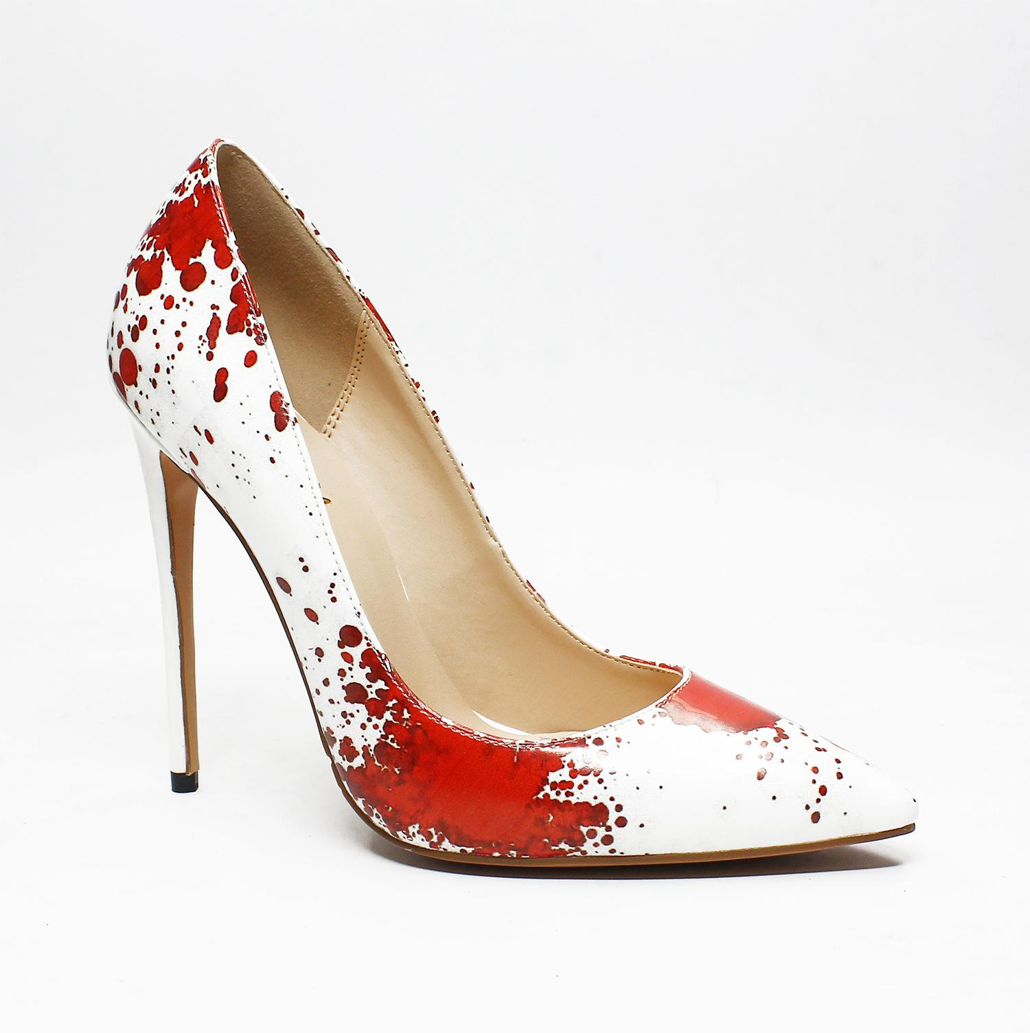 000d9ab1386d68 Luxury Designer Fashion Print High Heels Pumps Red Sole Sexy Pointy Toe  12cm Large Size Women Dress Shoes For Party Banquet Black Shoes Nude Shoes  From ...