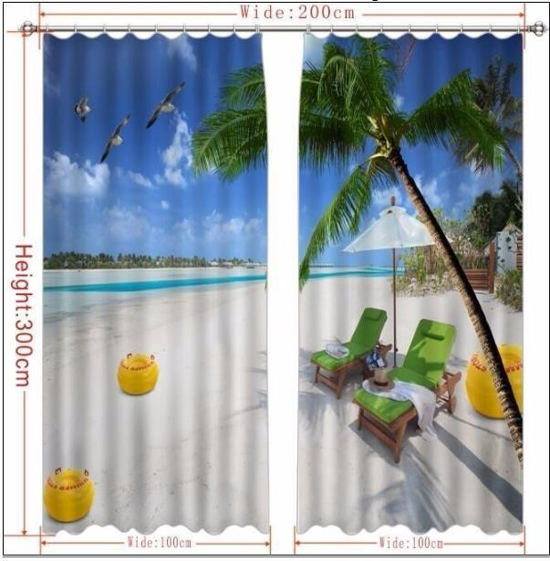 Rideau 3D Coco paysage fenêtre rideau salon cuisine rideaux