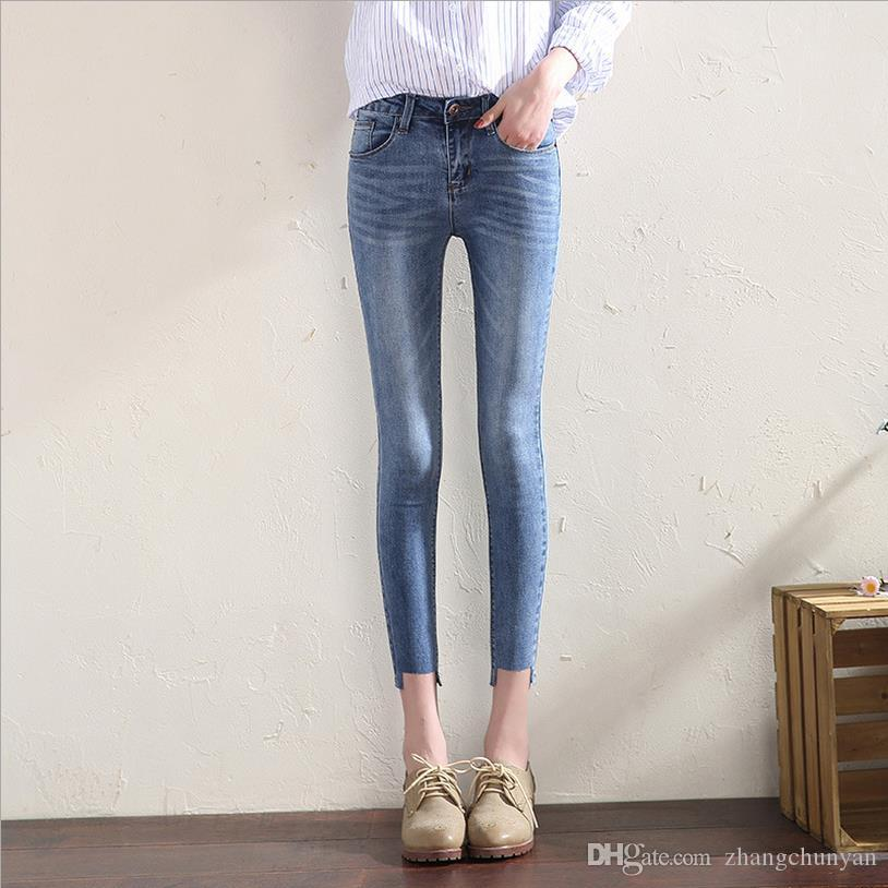 9dbcd095efd Mid Waist solid ankle length skinny jeans for girls pants students denim  jeans elastic trousers female bottom clothes Made in China