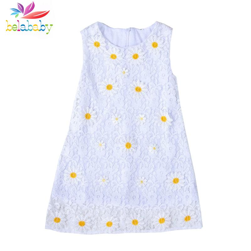 Belababy Girl Dress 2017 Summer Princess Kids Clothes Lace Flower Dresses Children Sunflower Princess Party Dresses For Girls