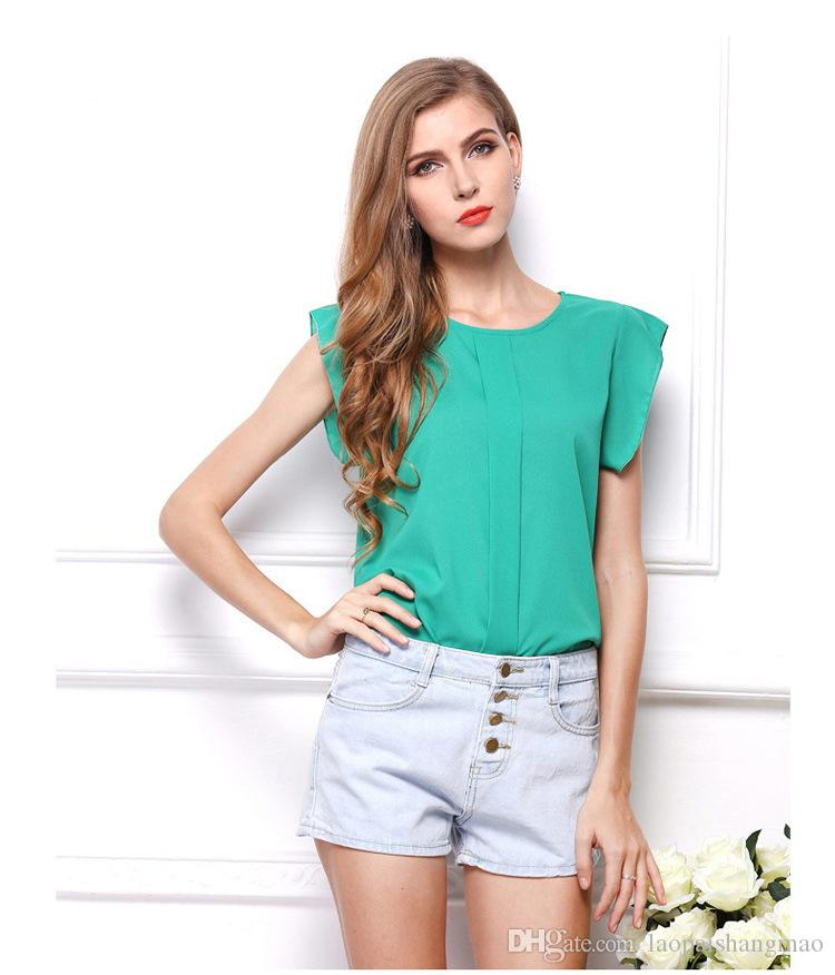 The European and American market explosion models ladies T-shirt pure color short sleeved blouse Feifei Sleeve Chiffon shirt wholesale