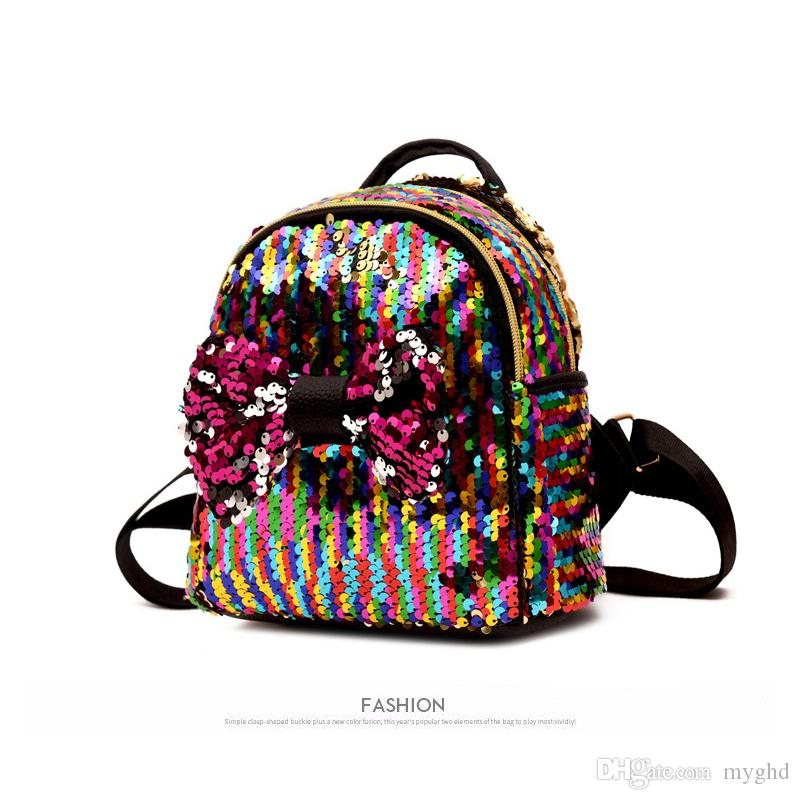 ef3ef8db4b 2018 Shinning Bling Sequins Cute Big Butterfly Backpack For Teenager Girls  Mochila Shoulderbag Women Mini Travel Cute Bag Leather Backpacks One Strap  ...