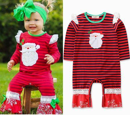 42c7b08a14d1 2018 Fall Baby Christmas Clothing Kids Boutique Clothes Girls Santa Striped Rompers  Lace Long Sleeve Jumpsuits Newborn Onesies Bodysuits INS Christmas ...