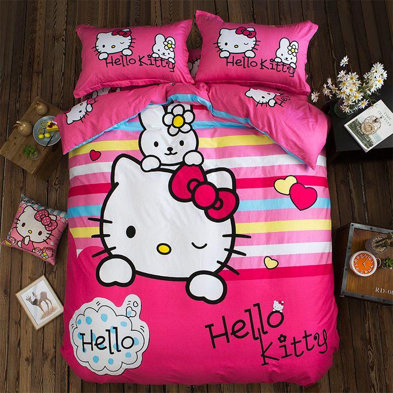 Pink Stripe Cartoon Bedding Sets Hello Kitty Princesses Twin Queen King  Pure Cotton Fashion Duvet Cover Flat Sheet Pillowcase Black Duvet Covers  Duvet Sets ...